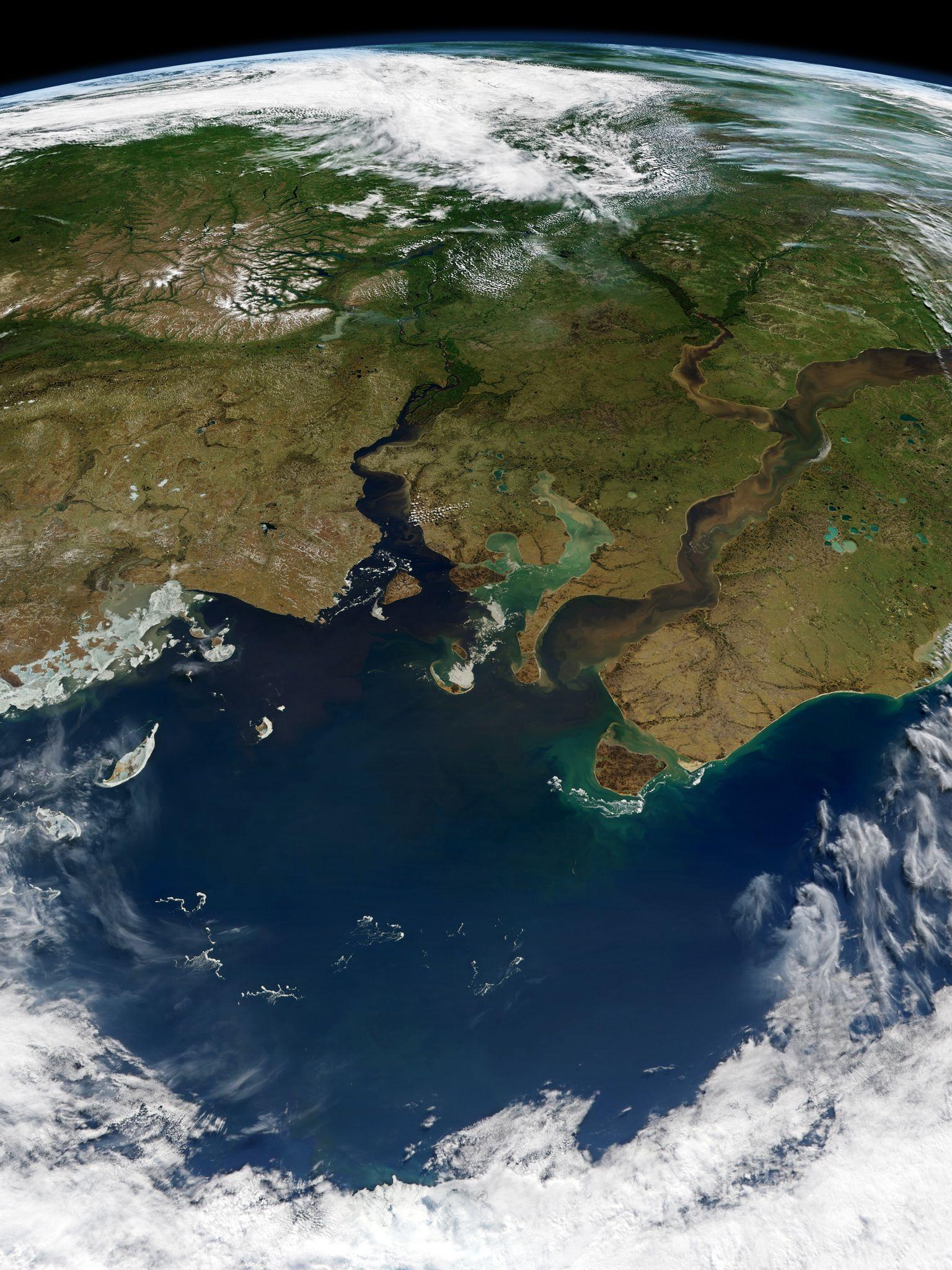 Карское море, Обская губа, Енисейский залив вид с орбиты