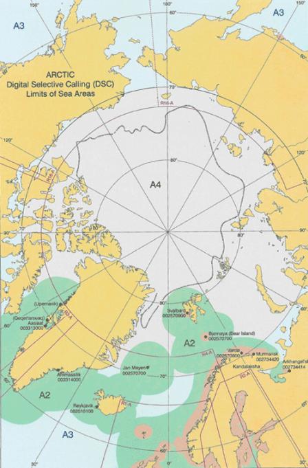 Карта разделения на районы плавания. Арктика.