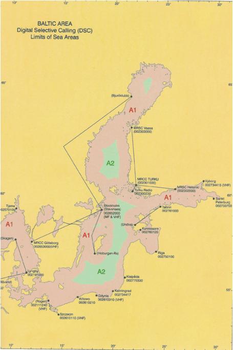 Карта разделения на районы плавания. Балтика.