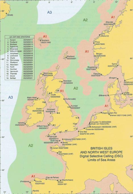 Карта разделения на районы плавания. Великобритания и северная Европа.
