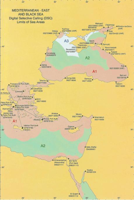 Карта разделения на районы плавания. Средиземное море.