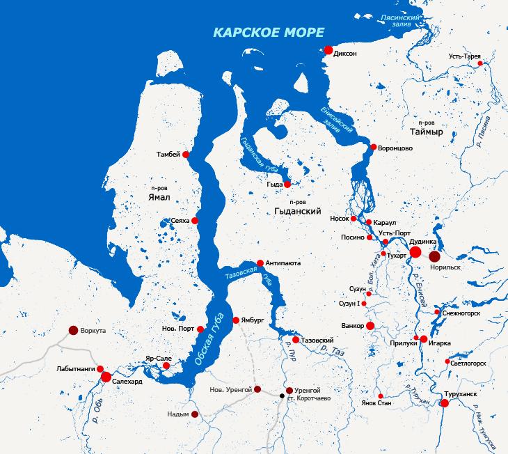 Kara Sea major ports