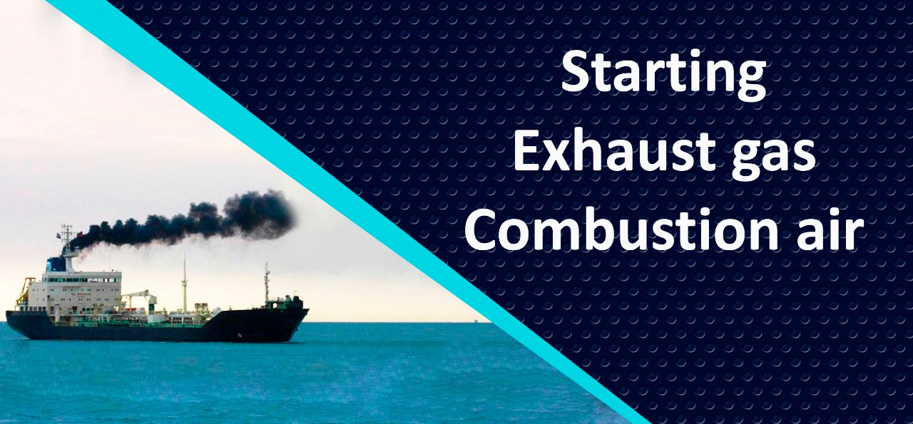 Marine engine starting system. Marine engine exhaust gas. Combustion air